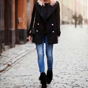 Zara Short Military Pea Coat with Gold Buttons